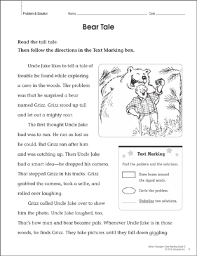 Bear Tale: Close Reading Passage | Printable Lesson Plans, Ideas and