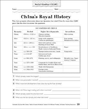 China's Royal History: Social Studies Chart - Printable Worksheet