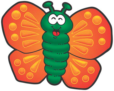 Orange and Green Butterfly - Image Clip Art