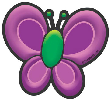 Green and Purple Butterfly - Image Clip Art