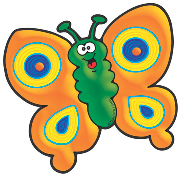 Orange and Yellow Butterfly - Image Clip Art