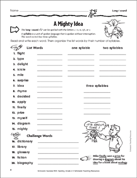 A Mighty Idea (Long-i Sound) - Printable Worksheet