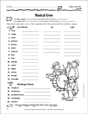 Musical Crew (Long-u and /oo/ Sounds) - Printable Worksheet