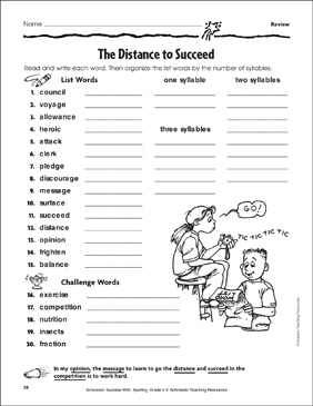 The Distance to Succeed - Review - Printable Worksheet