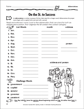 On the St. to Success (Abbreviations) - Printable Worksheet