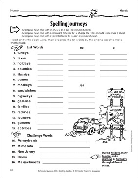Spelling Journeys (Plurals) - Printable Worksheet