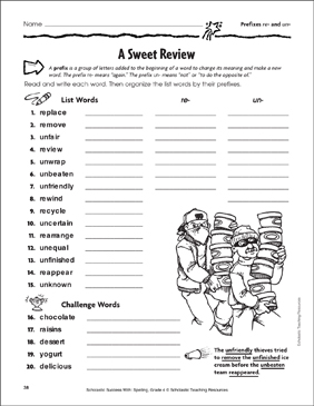 A Sweet Review (Prefixes re- and un-) - Printable Worksheet