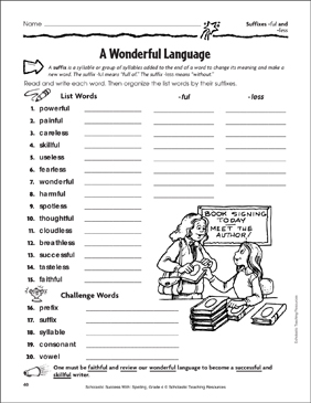 A Wonderful Language (Suffixes -ful and -less) - Printable Worksheet