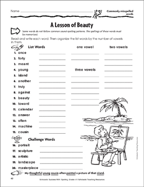 A Lesson of Beauty (Commonly Misspelled Words) - Printable Worksheet