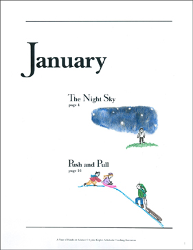 The Night Sky/Push and Pull: January Hands-On Science - Printable Worksheet