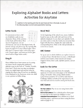 Alphabet Books and Letters: Activities for Anytime - Printable Worksheet