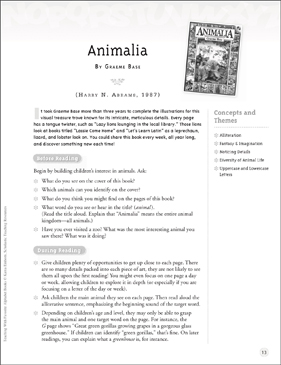 Animalia (Letter Aa): Teaching With Favorite Alphabet Books - Printable Worksheet