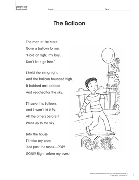The Balloon: Reading Homework - Printable Worksheet