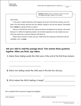 Winning: Reading Homework - Printable Worksheet