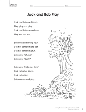 Jack and Bob Play: Reading Homework - Printable Worksheet