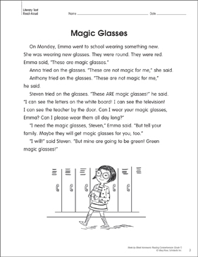 Magic Glasses: Reading Homework - Printable Worksheet