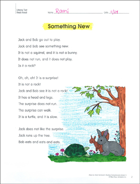Something New: Reading Homework - Printable Worksheet