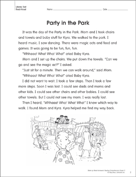 Party in the Park: Reading Homework - Printable Worksheet