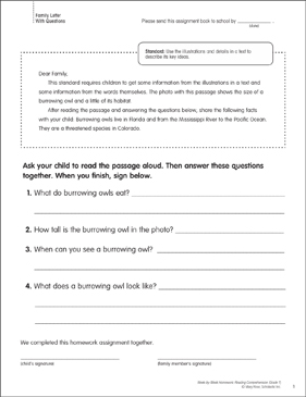 Burrowing Owls: Reading Homework - Printable Worksheet