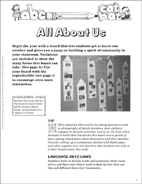 All About Us: Language Arts Bulletin Board - Printable Worksheet