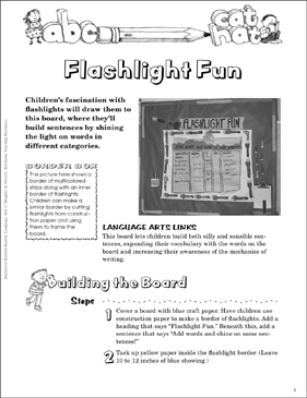Flashlight Fun: Language Arts Bulletin Board - Printable Worksheet