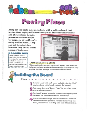 Poetry Place: Language Arts Bulletin Board - Printable Worksheet