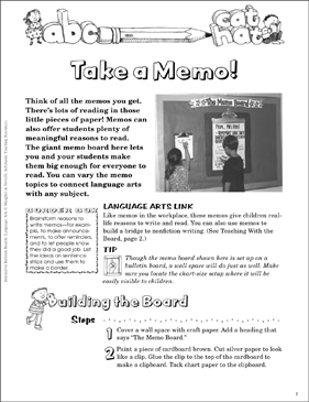 Take a Memo! Language Arts Bulletin Board - Printable Worksheet