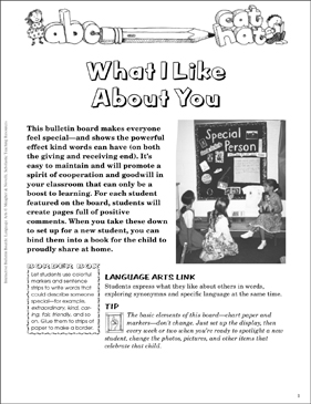 What I Like About You: Bulletin Board - Printable Worksheet