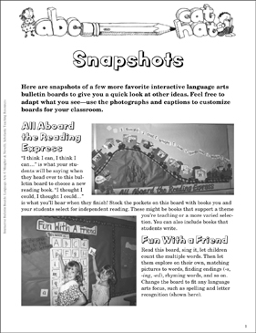 Snapshots: Language Arts Bulletin Board - Printable Worksheet