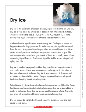 Dry Ice: Text & Organizer - Printable Worksheet