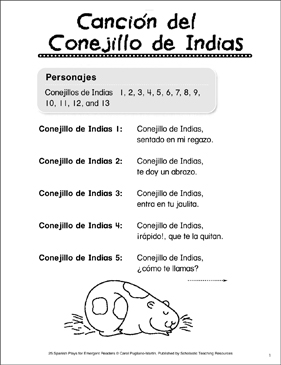 Canción del Conejillo de Indias: Spanish Play - Printable Worksheet