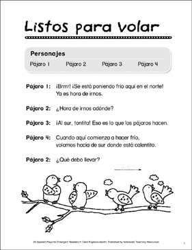Listos Para Volar (Ready to Fly): Spanish Play - Printable Worksheet