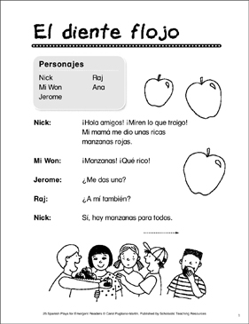 El Diente Flojo (Loose Tooth): Spanish Play - Printable Worksheet