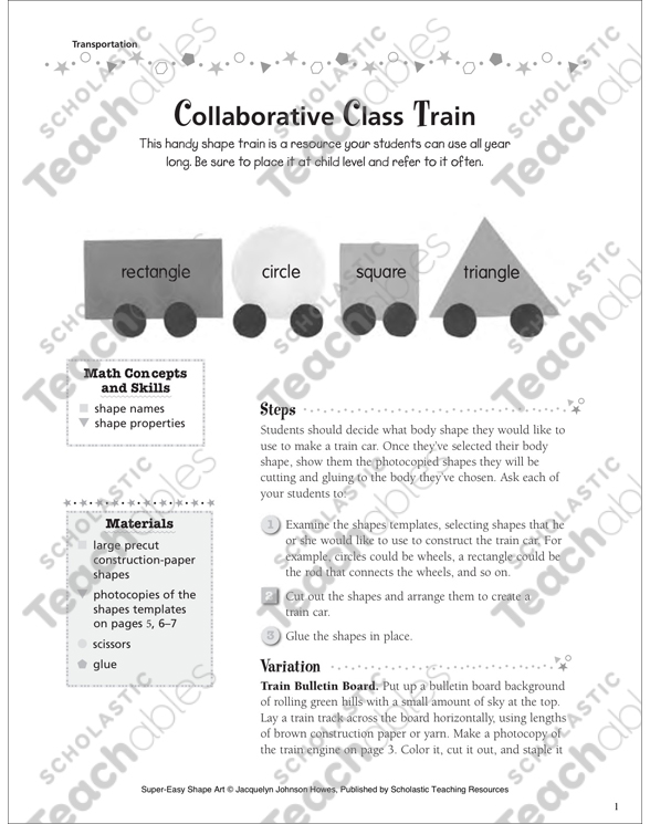 Collaborative Class Train | Printable Arts, Crafts, Cut and Pastes