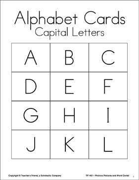 Phonics Pictures and Words Alphabet Cards: Upper and Lower Case - Printable Worksheet