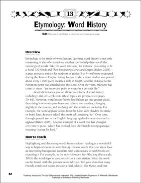 Etymology: Word History: Leveled Graphic Organizer Set - Printable Worksheet