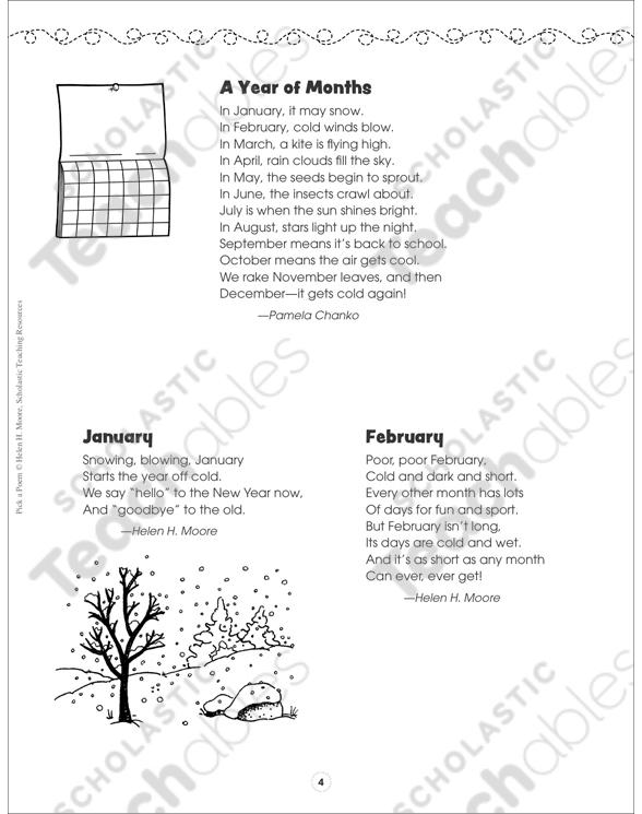 Sensational Seasons & Magical Months: Pick a Poem | Printable Texts