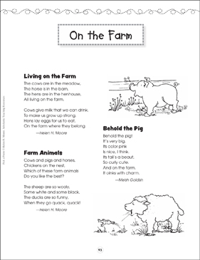 on the farm pick a poem printable texts and skills sheets. Black Bedroom Furniture Sets. Home Design Ideas