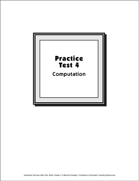 Math Skills Practice Test 4 (Grade 3: Computation) - Printable Worksheet