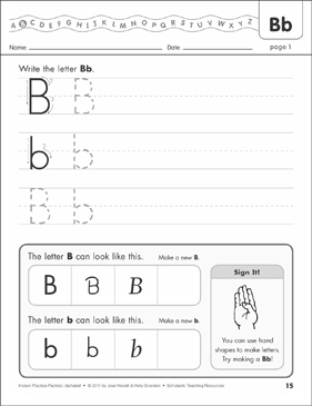 The Letter Bb: Alphabet Practice Packet - Printable Worksheet