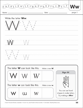 The Letter Ww: Alphabet Practice Packet - Printable Worksheet