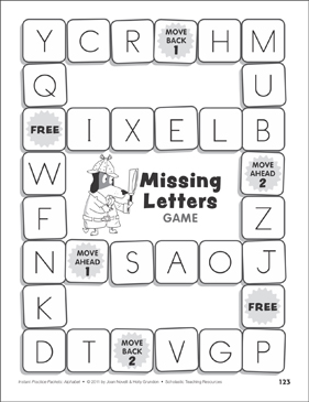 Missing Letters Game: Alphabet Practice Packet - Printable Worksheet