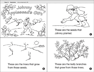 picture relating to Johnny Appleseed Printable Story titled Johnny Appleseeds Reward Printable Mini-Textbooks