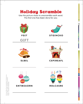 photo regarding Holiday Word Scramble Printable referred to as Vacation Presents and Far more: Phrase Scramble Printable Abilities Sheets