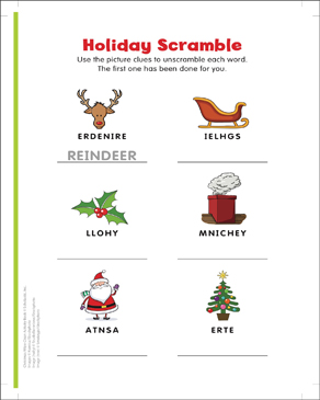 image relating to Word Scramble Printable referred to as All In excess of Santa: Phrase Scramble Printable Competencies Sheets