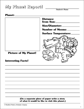 My Planet Report! | Printable Skills Sheets, Book Reports ...