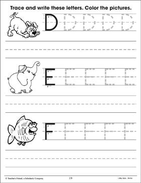 uppercase letters practice d e f printable skills sheets. Black Bedroom Furniture Sets. Home Design Ideas