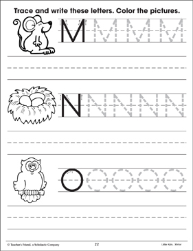 uppercase letters practice m n o printable skills sheets. Black Bedroom Furniture Sets. Home Design Ideas