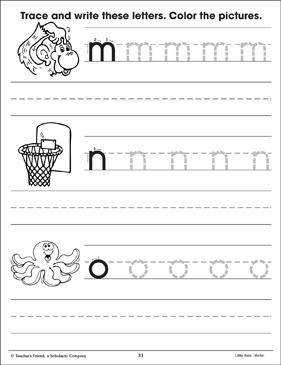 lowercase letter practice m n o printable skills sheets. Black Bedroom Furniture Sets. Home Design Ideas
