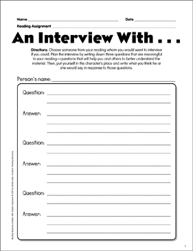 An Interview With Reading Response Graphic Organizer